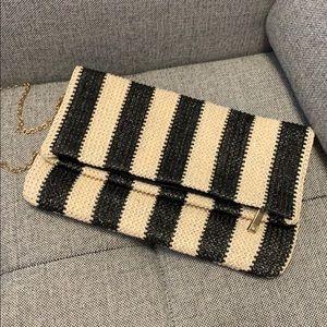 """""""Straw"""" striped Lulus clutch"""